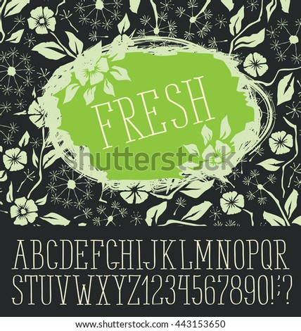 Vector logo with hand made font. With inscription Fresh - stock vector