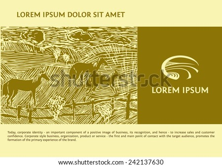 Vector logo with the image field of the road. Linocut depicting horses in the field. Background and logotype for agricultural commodities. Engraving. - stock vector