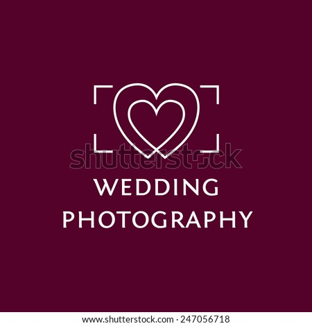 Vector logo with the image of the viewfinder and hearts. Wedding Photography. - stock vector