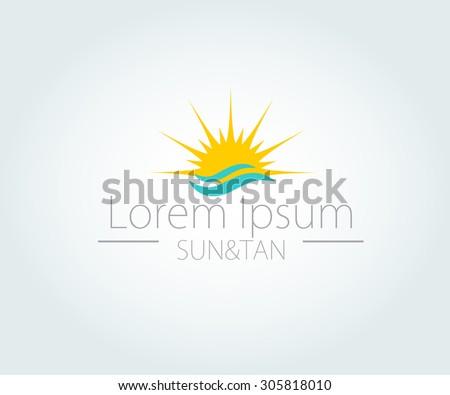 Vector Logo with yellow sun  and blue sea waves. Vector logotype - stock vector