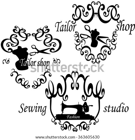 "vector logos for ""tailor shop""and ""sewing shop"".Vector set of vintage tailor labels, badges and hand drawn design elements. - stock vector"