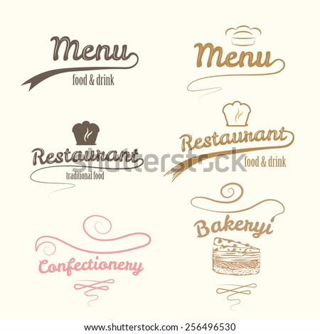 Vector logos. Restaurant labels set. - stock vector