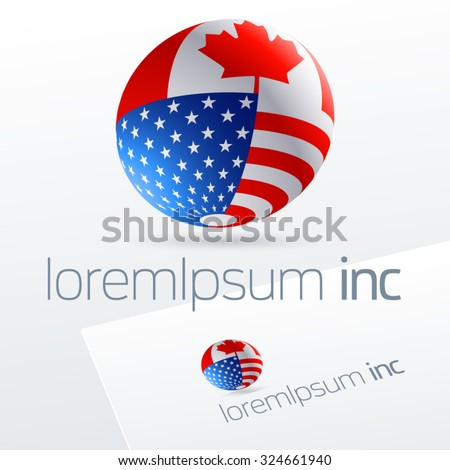 Vector logotype in sphere shape for international business, tourism and communications. Canada and United States of America
