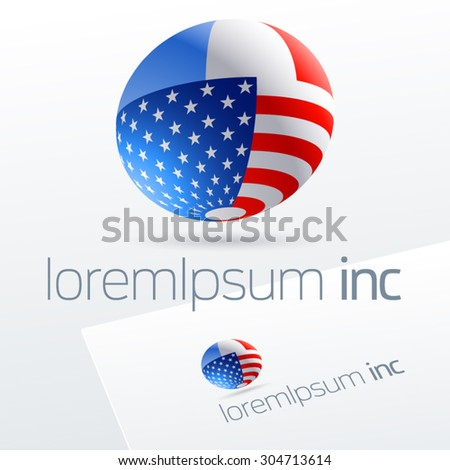 Vector logotype in sphere shape for international business, tourism and communications. France and United States of America