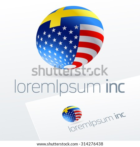 Vector logotype in sphere shape for international business, tourism and communications. Sweden and United States of America