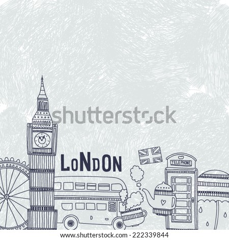 Vector London background with tourism attractions and symbols. Big ben, bus, tea,cup, flag, telephone and  umbrella