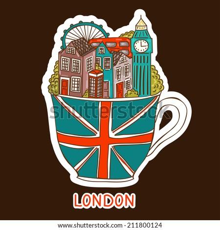 Vector London city sticker.   - stock vector