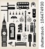 Vector London city street icon set - stock photo