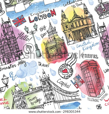 Vector London landmark seamless pattern.Watercolor stein,splash .Doodle Hand drawn sketchy, lettering.Famous architectural monuments ,symbols. England vintage icons ,linear textured background - stock vector
