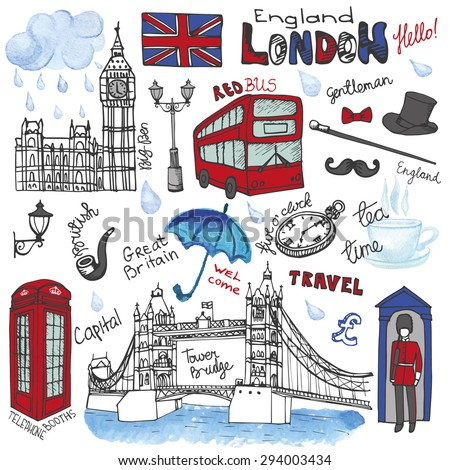Vector London landmark,symbols, lettering.Hand drawn doodle sketchy.Famous architectural monuments ,sign,symbols , icons. Watercolor elements,scrapbooking. England vintage icons,travel background - stock vector