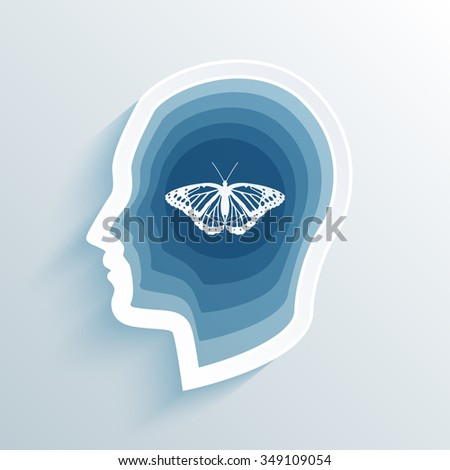 vector long shadow flat silhouette head with butterfly - stock vector