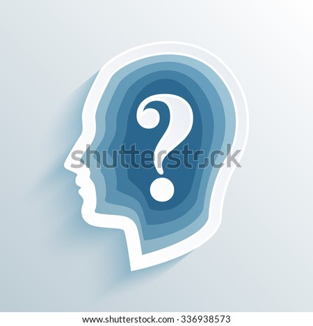 vector long shadow flat silhouette head with question mark