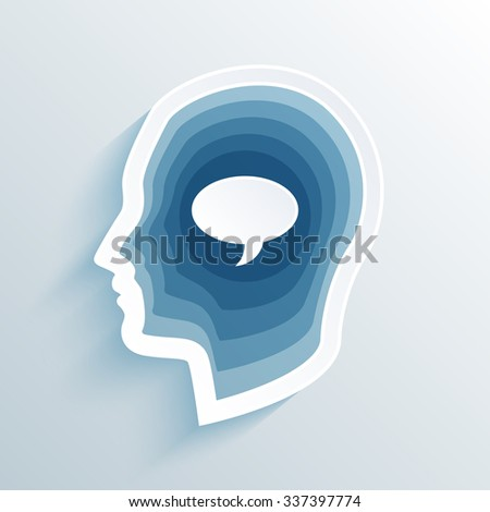 vector long shadow flat silhouette head with speaking bubble