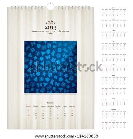2013 Calendar Template Images RoyaltyFree Images Vectors – Loose Leaf Template