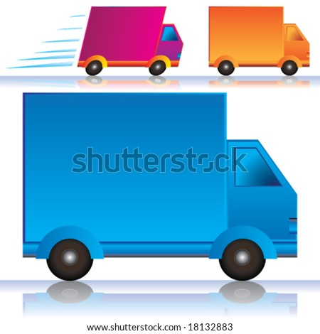 Vector Lorry/Vans Icons (Colors are easy to edit; space on side for your text or logo branding) - stock vector