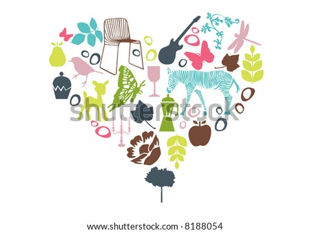 vector - lots of design element shaping a heart - stock vector