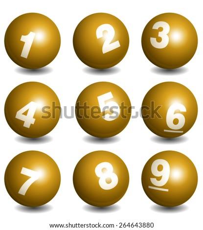 Vector Lottery / Bingo Number Balls Gold Set - stock vector