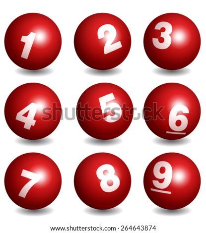 Vector Lottery / Bingo Number Balls Red Set - stock vector
