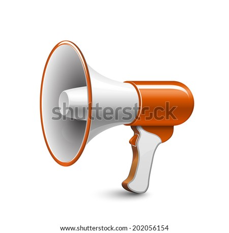 Vector loudspeaker icon. Highly detailed vector illustration of megaphone - stock vector