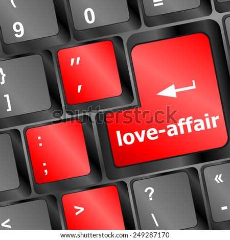 vector love-affair on key or keyboard showing internet dating concept
