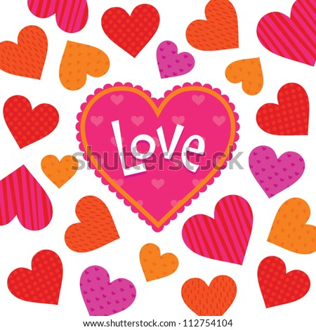 Vector love card or poster template with bright patterned hearts and text frame. Great for Valentine's Day, wedding, engagement, anniversary, birthday, scrapbook, menu, dinner party invitation. - stock vector