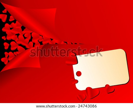 vector love card with hearts - stock vector