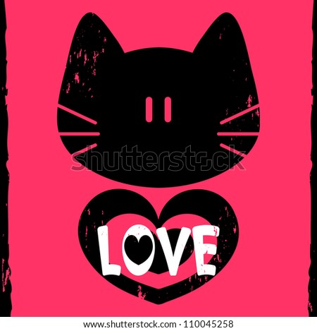 Vector love card with kitty face and heart - stock vector