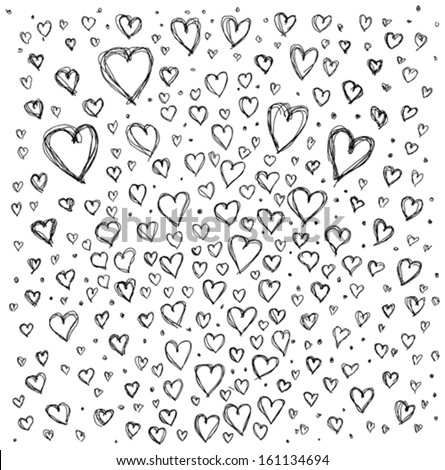 Vector Love concept. Sketch background with hearts - stock vector