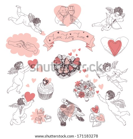 Vector Love illustration set with bouquet, muffin, hands, heart, angel, dove, chocolates, cakes, wine glass and biscuits. - stock vector