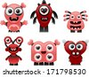 vector love monsters set 2 - Separate layers for easy editing - stock