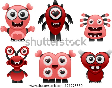 vector love monsters set 2 - Separate layers for easy editing - stock vector
