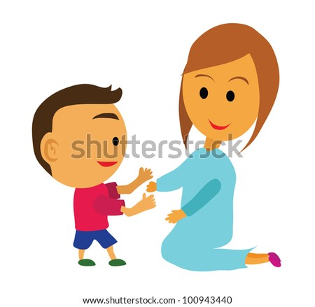 Vector - Love mother.A boy and his mother. - stock vector