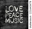 Vector love - peace - music poster - stock vector