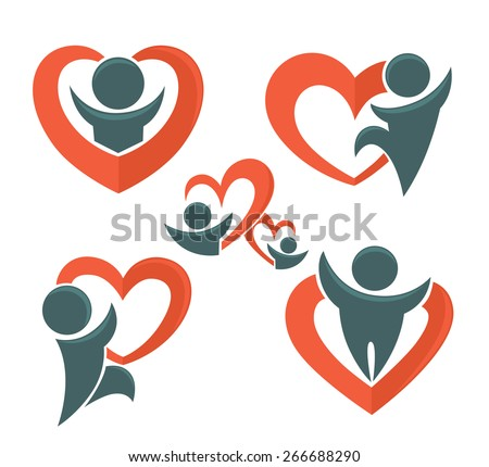 vector love, people and hearts collection - stock vector