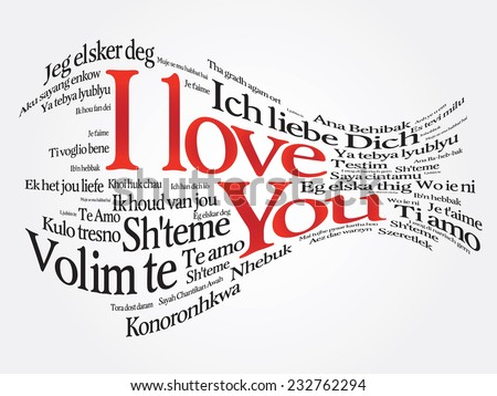 Vector love words I love you in all languages of the world - stock vector