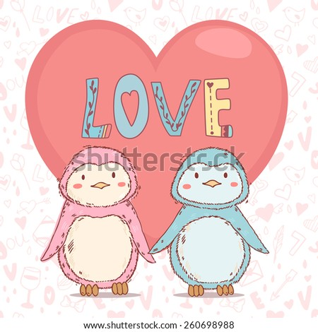 Vector lovely cartoon  penguins together in love with big red heart on abstract seamless pattern background - stock vector