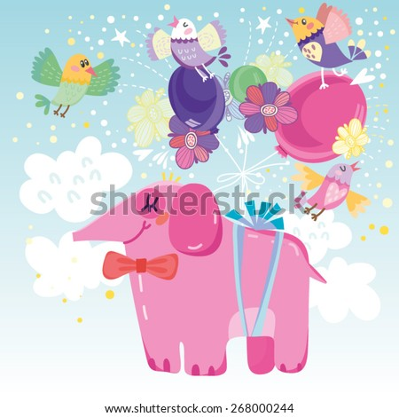 Vector lovely illustration of pink elephant in the sky and balloons. - stock vector