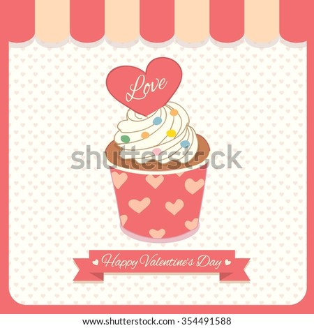 Vector lover cupcake for Valentine's Day.Theme of sweet pink with heart pattern.Bakery cafe shop.