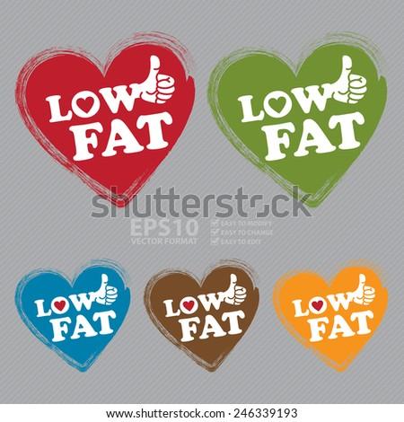 Vector Low Fat Heart Shape Sticker Stock Vector 246339193 Shutterstock