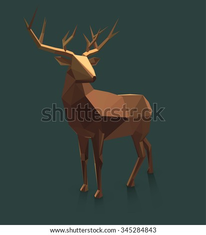Vector  low poly deer illustration.