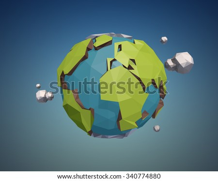 Vector low poly earth globe illustration. - stock vector