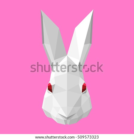 Vector Low Poly Illustration Polygonal Rabbit Head Icon Art Grey Bunny Red