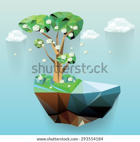 Vector low poly island spring tree, season abstract illustration - stock vector
