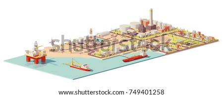 Vector low poly oil extraction, processing, consumption infographic. Includes offshore oilrig, tanker and port, land oil rig, refinery plant, factory, gas station and city