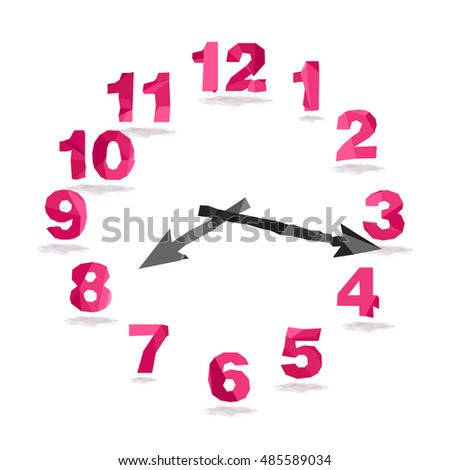 Vector low poly style illustration. Isolated pink numbers of clock and arrows