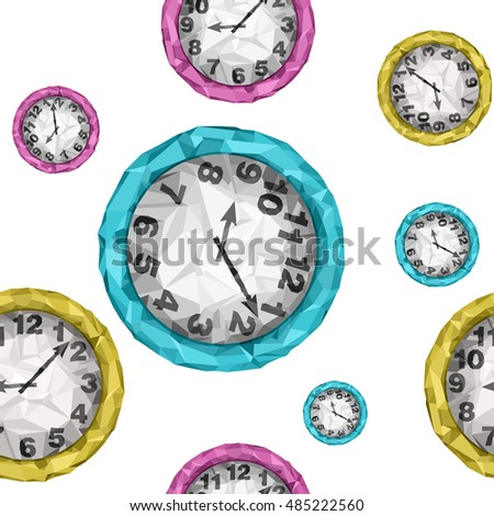 Vector low poly style seamless pattern. Isolated blue, pink and yellow clocks.