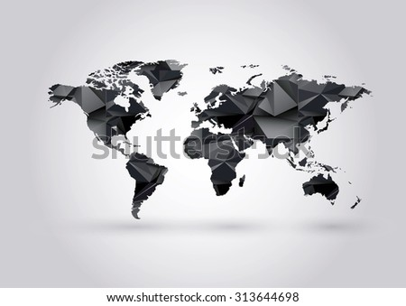Vector Low Poly World Map. Polygonal ow-poly black coal mining illustration. - stock vector