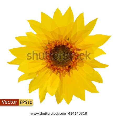 Vector low poly yellow flower sunflower  - stock vector