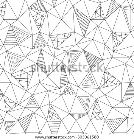 Vector low poly zentangle seamless pattern. Abstract low poly graphic repeat pattern. Black and white polygonal seamless hand-drawn background. - stock vector