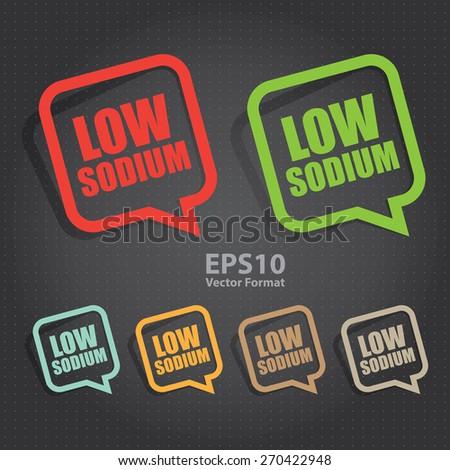 vector : low sodium speech bubble, speech balloon, sticker, sign, icon, label - stock vector